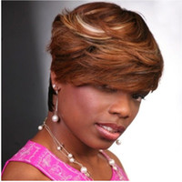 american sheds - Personality mixed color short wavy no shedding tangle free synthetic machine made wig for africa american black women