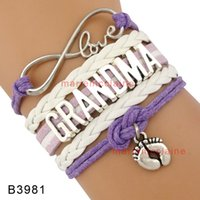 baby grandmothers - Pieces Infinity Love Grandma Baby Feet Charm Bracelet Baby Blue Purple White Grandmother Granddaughter Grandson Bracelet