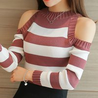 Wholesale Off Shoulder High Elastic Turtleneck Women Sweaters And Pullovers Female Autumn Tricot Knitted Sweater Stripe Jumper Pull Femme