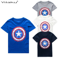 Wholesale 2016 Cotton Boys T shirts Captain America Short Children t shirt For Y Boy Cartoon Tops Tees Summer Kids Clothes CG050