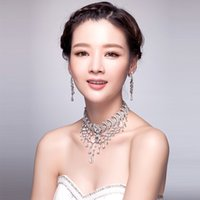 Wholesale New Fashion Women Lady Silver Crystal Rhinestone Tassels Bridal Necklace Earring Jewelry Set Birthday Wedding Accessories Supplies Stock