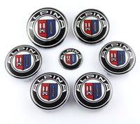 Wholesale 7x Set ALPINA Hood Trunk Steering Emblem Badge Wheel Center Hub Caps for BMW ALP