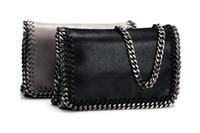 Bolso de la cadena del bolsillo de la aleta del PVC de los 22cm Bolsos de hombro 2016 bolso famoso de la señora italiana gris / negro con el embalaje del dustbag