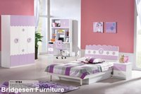 Wholesale MDF Teenage Princess Girl Kids Bedroom Furniture Set with Door Wardrobe Nightstand Bookcase Queen Bed Pink