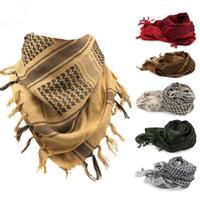 arab desert scarf - 110 cm Arab Magic Scarfs Thicken Outdoor Cotton Shawl Scarves Hunting Head Scarf Face Mesh Desert Bandanas Army Military Scarf PPA561