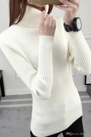 beige sweater tights - New winter short female Turtleneck Shirt sleeved turtleneck thick solid tight sweater slim