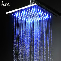 Wholesale hm LED Shower Rain Shower Head Brass Power By Water Color Blue Green Red Change By Temperature Bathroom Led Shower