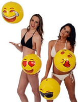 Wholesale 12inches Emoji PVC Inflatable Beach Balls Pool Outdoor Play Beach Toys Water Balloons Balls for Kids Adult