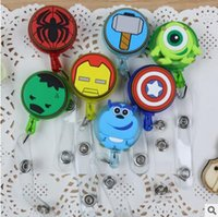 Wholesale Spiderman ID Holder Name Tag Card Key Badge Reels Round Iron Man Plastic Clip On Retractable Pull Reel