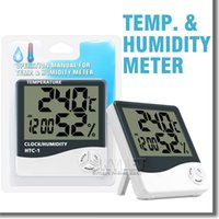Wholesale HTC Electronic Temperature Clock LCD Digital Indoor Humidity Meter Daily Alarm And Calendar Display with Retail Package