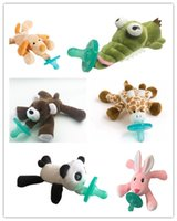Wholesale New Fashion pacifiers baby toy hanging animal plush toy designs a variety of silicone nipple