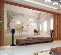 Wholesale d wallpaper custom mural non woven d room wallpaper d tree romantic dream piano setting wall photo d wall mural wallpaper