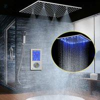Wholesale 3Jets LED Intelligent Digital Display Rain Shower Set Wall Mounted quot SPA Mist Rainfall Thermostatic Touch Panel Mixer Bathroom Shower Set