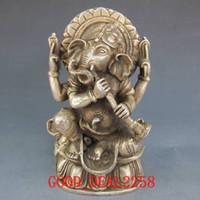 antique elephant statue - Tibet Silver Bronze Tibetan Buddhism Elephants Head Wealth Buddha w horn Statue