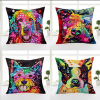 Wholesale American Graffiti Cartoon Dog Printed Pillowcase Creative Hand Painted Cushion Decorative Pillow Cushion Home Decor Throw Pillow case