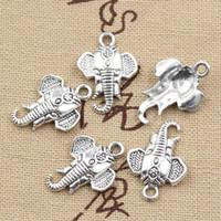 al por mayor pulsera al por mayor del elefante-Venta al por mayor-99Cents 12pcs encanta la cabeza del elefante 22 * 16m m que hace el ajuste pendiente, plata tibetana de la vendimia, collar de la pulsera de DIY