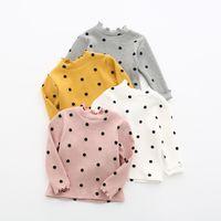 al por mayor dot camiseta-Los bebés de la camiseta de los bebés nuevos polka dots de los niños imprimen la camiseta larga de la manga El bebé embroma el algodón del hilo de rosca del collar de la colmena remata A0281