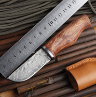 Wholesale Authentic Old Knife log handle forging Damascus blade mini portable knife gift collection tool