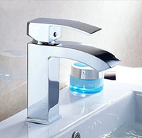 Wholesale Single Handle Waterfall Bathroom Vanity Sink Faucet with Extra Large Rectangular Spout Chrome
