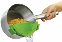 Wholesale 2017 hot snap n strain Strainers plastic Clip On Strainer perfect fit different size pots with white box Kitchen Gadgets