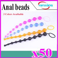 Wholesale 50pcs Waterproof Ball Long Anal Beads Butt Plug Anal Sex Toys Couples Flirting Anal Plug Adult Sex Products Pleasure Beads YX GM