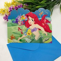 Wholesale Cards Envelopes the little mermaid Theme Happy Birthday party supply paper decorative invitation cards