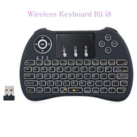 Wholesale 25X Wireless Keyboard rii i8 keyboards Fly Air Mouse Multi Media Remote Control Touchpad Handheld for TV BOX Android Mini PC JP