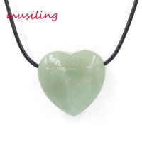Bohemian aventurine pendant - musiling Jewelry Necklaces Pendants Heart Pendant Necklace Chain Natural Stone Aventurine Charms Pendulum Fashion Jewelry for Women