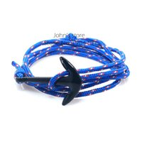 Wholesale Sailor Bracelets Wholesale - Wholesale-19 Colors Ropes Black Anchor Sailor Style Wrap Bracelet for Men and Women Fashion Mens Bracelet