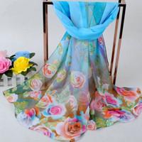 Wholesale Rose chiffon new design scarf flower print hot sell elegant shawl warp headband scarf GL SX284