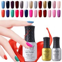 Wholesale HNM ml Soak Off UV Gel Nail Polish Price Gel Nails Lacquers Gel Colors Manicure Top Base Coat Free Tip Guides
