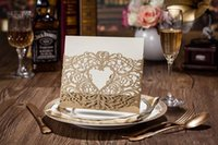 Wholesale CW5018 gold hollow out Invitation card Wedding Invitations come envelopes sealed card