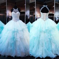Wholesale 2017 Sparkling Jewel Neckline Quinceanera Dresses Beads Pearls Lace Up Backless Prom Ball gowns Floor Length Ruffles Ball Gown Prom Dress