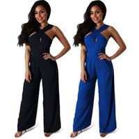 Wholesale 2017 Spring Womens Jumpsuit Slim Overalls Women One Piece Long Pants Plus size Jumpsuits Blue and Black