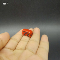Wholesale Fun Cute Artificial Red Bus Miniatures Figurines Decorations Accessories Toy Kid Perceive Educational Prop Teaching Aids