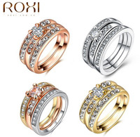 Wholesale 2017 New ROXI Brands Fashion Three Sets Rings Austrian Crystals White Gold Colorful Plated Wedding Ring Jewelry