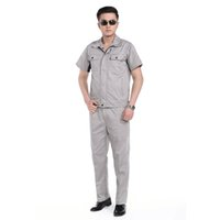 Wholesale Lstest Version Summer Short Sleeve Work Uniform Clothes Overall Superior Fabric Anti dust Five Size Light Grey