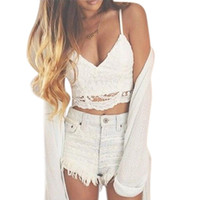 Wholesale Women Crochet Tank Camisole Lace Vest Blouse Bralette Bra Crop Top Polyester High Quality Solid Lace Good looking
