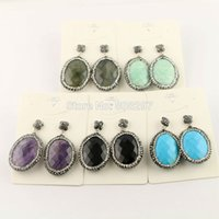 amazon earring - 5Pairs Natural Amethyst Amazon Turquoise Agate Labradorite Stone Druzy Earring Oval Shape Pave Crystal Jewelry Dangle Earring