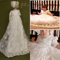 Wholesale Custom Made Baby Christening Gowns Lace Applique Half Sleeve Beads Baptism Dresses Flower Girl Formal Communication Dress