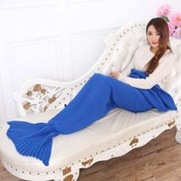 Wholesale Spring and Autumn x95CM Yarn Knitted Mermaid Tail Blanket Super Soft Sleeping Bed Handmade Crochet Anti Pilling Portable Blanket JF002