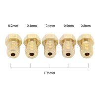 Wholesale 5pcs D printer nozzle J Head brass nozzle mm For V6 V5 or mm supplies extruder nozzles