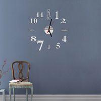 Wholesale Quartz Clocks Fashion Watches d Real Big Wall Clock Rushed Mirror Sticker Diy Living Room Decor