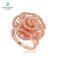 Wholesale Star Harvest open rose flower rose gold plated silver ring Jewelry with rose gold Plating High Quality Cubic Zircon