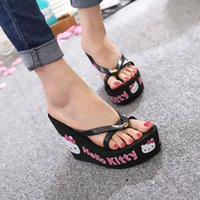 2017 sandales à talons hauts à l'été Chaussons Sweet Cute Cat Impression Clip Toe Girls Chaussures Promotion Hot Sale Femme Flip Flops Shoe