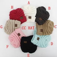 Wholesale 2017 New Winter Knitted Woolen kid hat CC Trendy Warm Oversized Chunky Soft Oversized Cable Knit Slouchy Beanie color