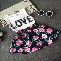Wholesale Baby Girls Clothes LOVE Tops Flower skirt Pretty Flowered Cotton Kids Sets Summer Children Girl Clothing Set