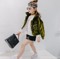 Wholesale Girls spring and autumn long sleeved lapel jacket jacket new Korean children s casual zipper shirt