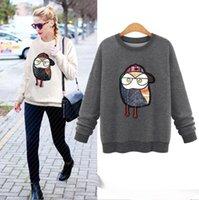 Wholesale 2017 New Fashion Spring Autumn Clothing Womens Cute D Embroidery Print Pullover Crewneck Fleece Sweatshirt Hoodies