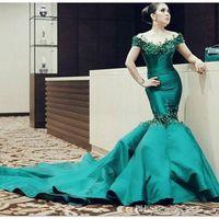 arabian woman - Gorgeous Appliqued Emerald Green Evening Dresses Mermaid Evening Gowns Arabian Dubai women Celebrity Dress Sweep Train Off Shoulder